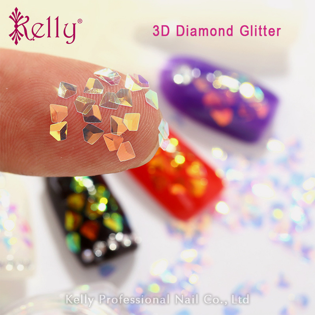 3D Diamond Glitter Holographic Chameleon Nail Art Flakies Sequins Confetti Powder